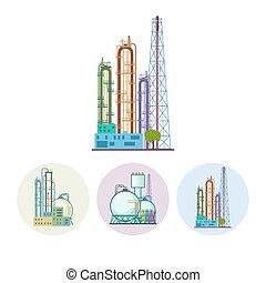 vector, planta, procesamiento, conjunto, refinería, o, ...