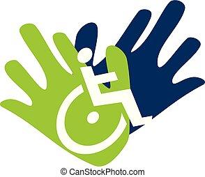 vector, plantilla, cuidado, logotipo, diseño, incapacidad
