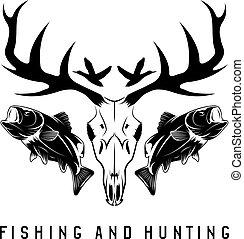 vector, plantilla, diseño, pesca, vendimia, emblema, caza