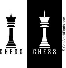 vector, plantilla, figura, diseño, simple, ajedrez, reina