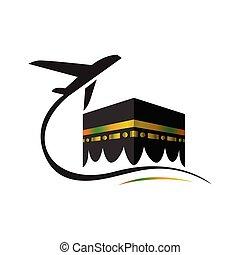 vector, plantilla, kaaba, logotipo, hajj, viaje, viaje