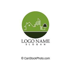 vector, plantilla, logotipo, ciudad, moderno