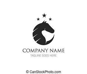 vector, plantilla, logotipo, diseño, caballo, ilustración