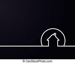 vector, plase, logotipo, diseño, text., casa, ilustración