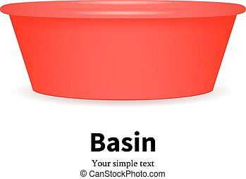 Vector illustration of a red plastic bowl for water and food. Isolated white background. Icon plastic basin for washing dishes and clothes.