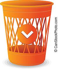 Vector plastic basket orange, trash bins on white