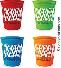 Vector plastic basket set, trash bins on white