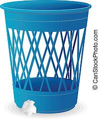Vector plastic blue basket, trash bins on white