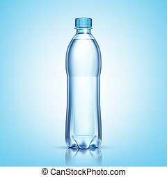 Vector plastic bottle with water on white