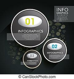 vector, plastic, infographic, zwarte cirkel, etiket, communie