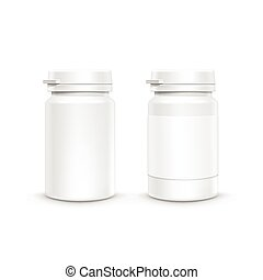 Vector Plastic Packaging Bottle with Cap for Pills - Vector...