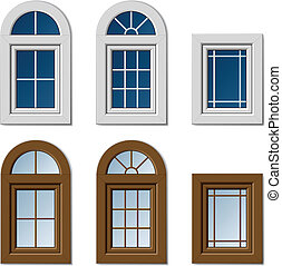 vector plastic windows white brown