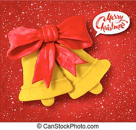 Vector plasticine figure of Christmas bells