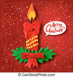 Vector plasticine figure of Christmas candle