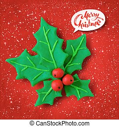 Vector plasticine figure of Christmas Holly