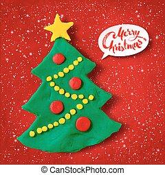 Vector plasticine illustration of Christmas Tree