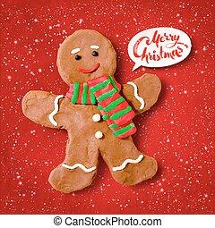 Vector plasticine illustration of gingerbread man