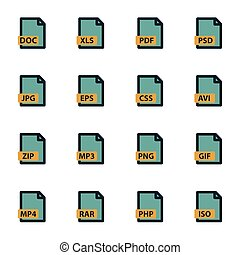 vector, plat, bestand, type, iconen, set