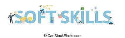 vector, plat, concept, brieven, illustration., mensen, vrijstaand, icons., achtergrond., skills., witte , zacht