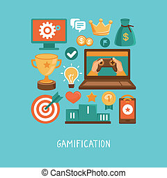 vector, plat, concept, -, gamification