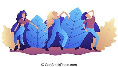 vector, plat, concept, illustration., natuur, dans, meiden, jonge, tegen, achtergrond., 3, park., achtergrond, witte