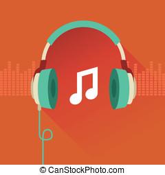vector, plat, concept, -, muziek