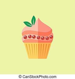 vector, plat, cupcake
