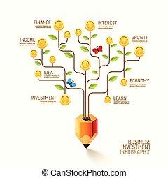 vector, plat, gebruikt, financiën, zakelijk, web, zijn, concept., muntjes, boompje, opmaak, potlood, idea., valuta, infographic, groei, groenteblik, illustration., lijn, spandoek, design.