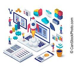 vector, plat, isometric, werkende , zakelijk, raketlancering, concept., start, laptop., illustratie, project., ontwerp, team, nieuw, 3d