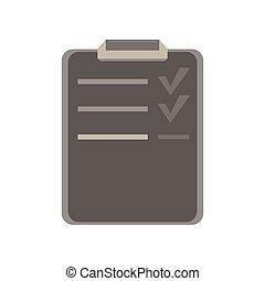 vector, plat, klus, examen, succes, controlelijst, controleren, schrijf, test, klembord, ontwerp, antwoord, document, correct, pictogram