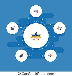 vector, plat, lint, spandoek, elements., iconen, anderen, sparklers, symbolen, ook, vliegtuig, set, instrument, muzikalisch, objects., vuurwerk, omvat, dag