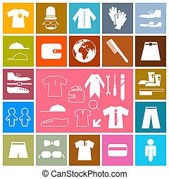 vector, plat, mode, kleurrijke, iconen, -, vast plein, kleding