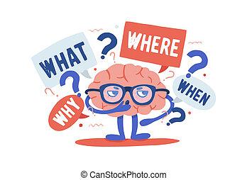 vector, plat, omringde, menselijk, kleurrijke, achtergrond., riddles, het oplossen, karakter, vrijstaand, illustratie, spotprent, ondervraging, hersenen, points., vragen, nieuwsgierig, witte , schattige, style., bril