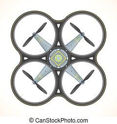 vector, plat, quadcopter, neuriën, illustratie