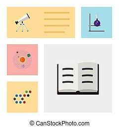vector, plat, set, elements., molecule, studeren, flacon, omvat, ook, zonne, bereik, lezing, objects., anderen, bereik, pictogram