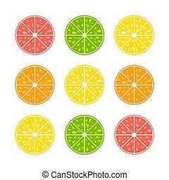 vector, plat, set, illustration., achtergrond., eenvoudig, citroen, vruchten, mond-water geeft, grapefruit, vrijstaand, voedsel., tropische , halves, sappig, orange., heerlijk, helder, kalk, witte , gekleurde