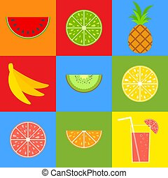 vector, plat, set, illustration., cocktail, eenvoudig, citroen, gekleurde, grapefruit, vrijstaand, straw., tropische , sinaasappel, helder, kiwi, mond-water geeft, fruits., voedsel., ananas, banaan, watermelon.