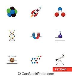 vector, plat, set, kracht, elements., elektriciteit, studeren, nucleair, omvat, chemisch, ook, anderen, aantrekkelijk, magneet, spaceship, objects., pictogram