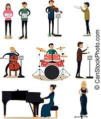 vector, plat, set, mensen, iconen, orkest, klassiek concert