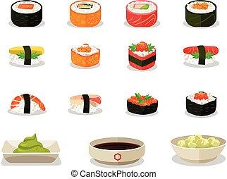 vector, plat, set, sushi, pictogram