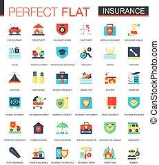 vector, plat, set, verzekering, iconen