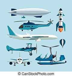vector, plat, stijl, set, vervoer, iconen, lucht, vliegen, raket, vrijstaand, balloon, warme, vliegtuig, ontwerp, retro, objects., biplane., communie, helikopter, vervoeren