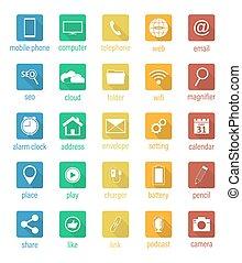 vector, plat, vast plein, icons.