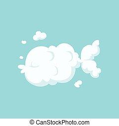 vector, plat, verhaal, aquatisch, silhouette, geitjes, postkaart, visje, vliegen, vorm., style., of, s, boek, ontwerp, afdrukken, animal., spotprent, kinderen, wolk