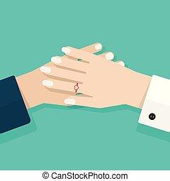 vector, plat, vrouw, concept, clipart, illustratie, hulp, vasthouden, twee, samen, spotprent, romaans, steun, minnaars, closeup, handen, care, vriendschap, paar, man
