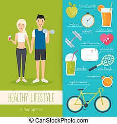 vector, plat, vrouw, lifestyle., levensstijl, illustration., lood, iconen, voedingsmiddelen, jonge, gezonde , infographics., conceptontwikkeling, web:, fitness, metrics., man