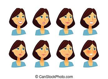 vector, plat, vrouw, -, set, beelden, uitdrukkingen