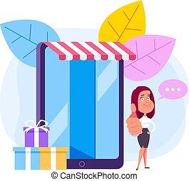 vector, plat, vrouw winkelen, aanbod, concept., karakter, illustratie, promo., grafisch ontwerp, spotprent, bijzondere