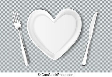 Vector plate in shape of heart, knife, fork - Realistic ...