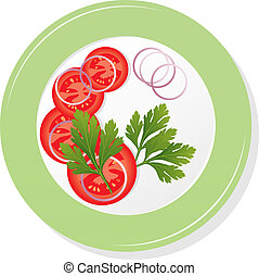 vector plate with tomatoes